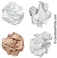 paper ball crumpled garbage frustration - collection of...