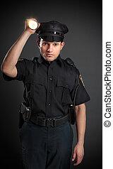 policía, o, Seguridad, guardia, Brillar, antorcha