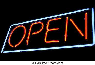 Open neon light sign - Vintage open neon light on black