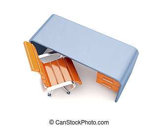 Stylish workplace - Orange chair and blue desk