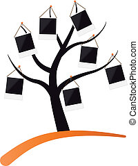 tree with photo frame - illustration of tree with photo...