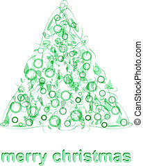 Abstract green christmas tree greeting card vector -...