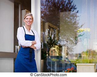 jovem, bonito, mulher, trabalhando, floricultor, loja,...