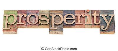 prosperity word in letterpress type