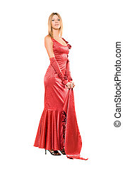 Elegant young blonde in red dress. Isolated