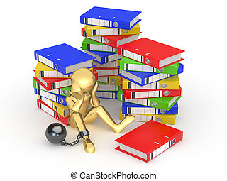 Clerk in archive Men with folders 3d