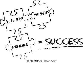 Success Puzzle chalk illustration on white background