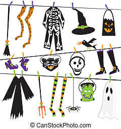 Halloween Costume Clothesline Clip Art