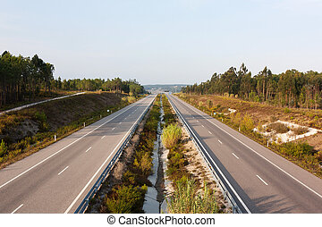 Above view of double lane highway in Portugal