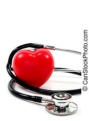 Stethoscope with heart - Stethoscope with red heart on a...