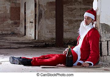 Drunken Santa - Drunken Homeless Santa Sitting on the Floor