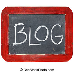 blog blackboard sign - blog sign - white chalk handwriting...