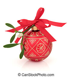 Mistletoe and Bauble - Christmas mistletoe with red and gold...