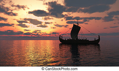 Viking Longship at Sunset - Viking longship sailing on a...