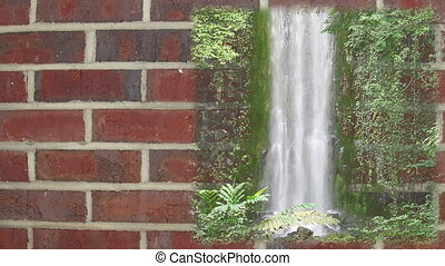 Waterfall background with textspace - Waterfall perfectly...