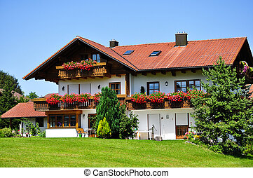 European cottage with a beautiful exterior design