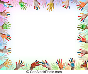 Painted colorful hands . Frame with hands
