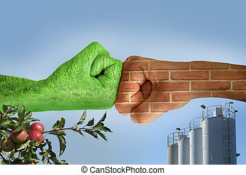 Two hands against each other. Ecology - Two hands against...