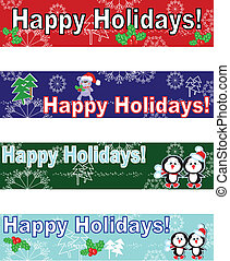 Holidays banners set,vector