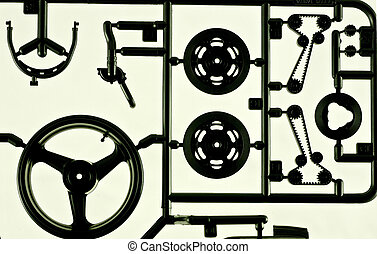 Model parts - Close up of a motorcycle model parts