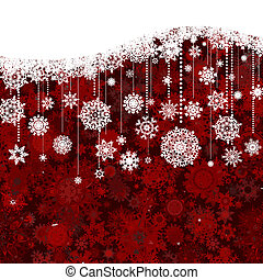 Christmas New Year\'s white pattern on red. EPS 8 -...