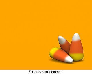 Candy Corn - 3 candy corn on an orange background