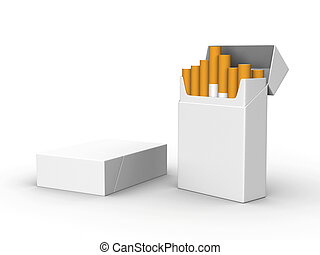 Cigarettes - A render of two isolated blank packs of...