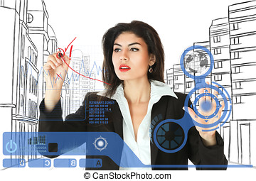 Young businesswoman working on touch screen - Young serious...