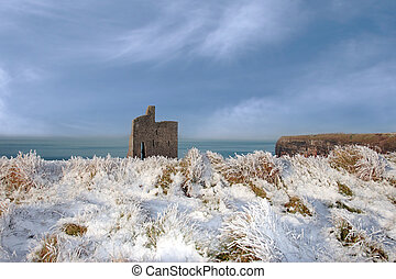 christmasy view of ballybunion beach and cliffs - a seasonal...