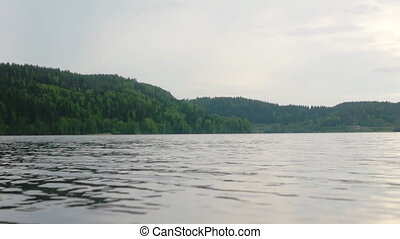Panorama of Ladoga lake in northern Russia, low angle view