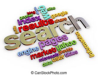 3d Search engine - 3d render of wordcloud of search engine