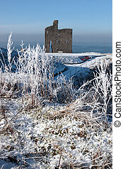 christmasy view of ballybunion castle ruin and sea - a...