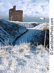 christmasy view of ballybunion castle - a seasonal snow...