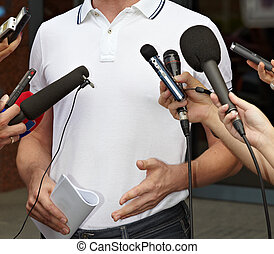 business meeting conference journalism microphones