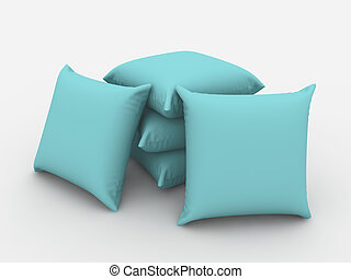 Cushions - A render of a pile of isolated blue cushions