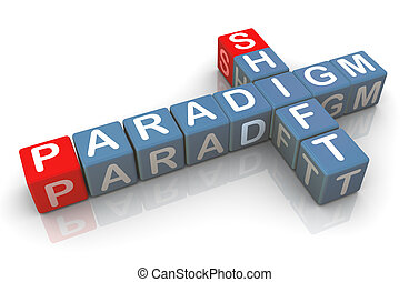 3d buzzword paradigm shift - 3d render of buzzword paradigm...