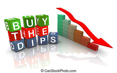 3d buzzword text 'buy the dips' - 3d colorful buzzword text...