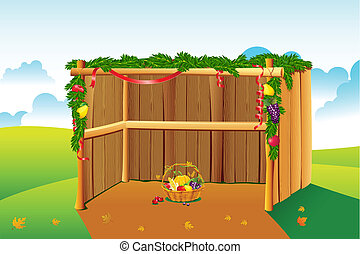 Decorated Sukkah - illustration of sukkah decorated with...