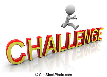 3d challenge jump - 3d man jumping over the text...