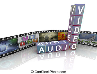 Audio video and film reel - 3d crossword audio video with...