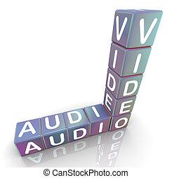 Crossword of audio video - 3d render of crossword audio...