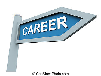 3d career sign  - 3d directional sign of text 'career'