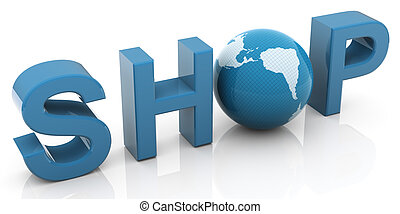 3d shop - 3d render of text shop and globe