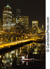 Seattle Downtown Waterfront Skyline at Night