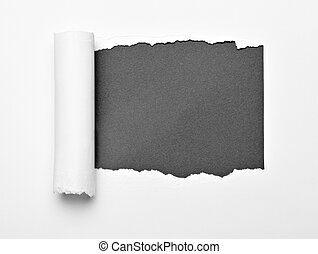 white crumpled curled scroll note paper - close up of a...