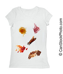 ketchup chocolate coffee wine food stains on a t shirt -...