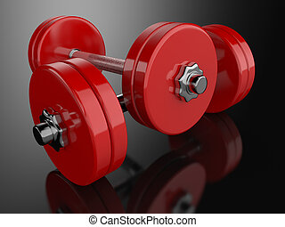 Dumbells - A render of a pair of dummbells over a reflective...