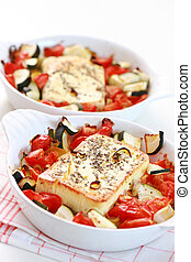 Baked Feta cheese with vegetables - Baked feta cheese with...