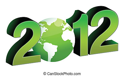 green 2012 year tex illustration design