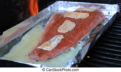 Grilling Fresh Salmon On BBQ
